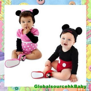Baby Boy Girl Cartoon Character Costume Mickey Minnie Romper Bodysuit 3 24M