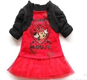 Disney Cute Baby Girl Minnie Mouse Two Piece Like Dress Costume Outfit Clothes