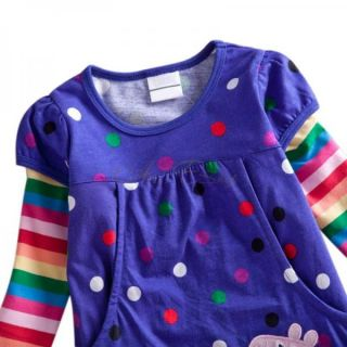 Purple Polka Dots Peppa Pig Girl Baby Rainbow Sleeve Top Dress T Shirt 1 6 Years