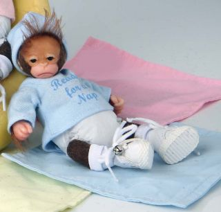"Ashton Drake Baby Jingles Ready for A Nap 5"" Handful Monkey"