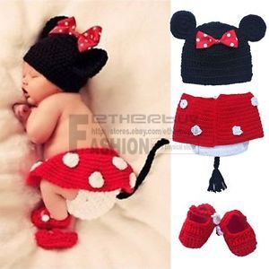 3pcs Newborn Baby Girls Kids Minnie Mouse Outfit Crochet Knit Costume Photo Prop