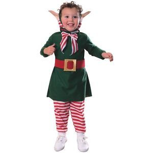 Lil' Elf Suit Toddler Baby Santa Claus Helper Fancy Dress Christmas Costume