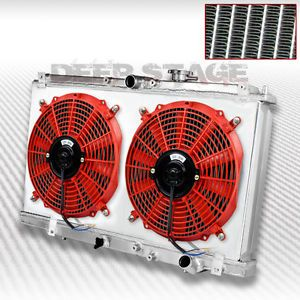 Dual Core 2 Row Cooling Radiator Fan Shroud Red 97 01 Honda Prelude H22A4 MT