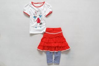 3pcs Baby Girls Kids Cotton T Shirt Skirt Pants Set Outfit Costume Size 1 6T D10