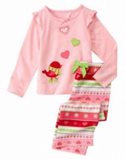 Gymboree Birdie Fair Isle Christmas Winter Pajamas PJs 2pc Baby Toddler Girl