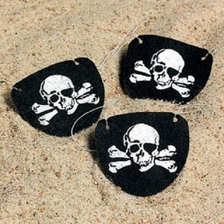 12 Pirate Costume Skull Eye Patches Party Favors Jolly Roger Skull