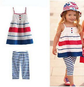 Girls Baby Kids Outfit Top Dress Legging Pants Stripe 2pcs Set Sz 3M 5Y Clothing