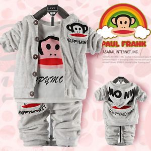 Cute Baby Boy Winter Fall Monkey Outfits Set Suit Coat Outerwear T Shirt Clothes