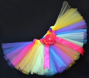 Rainbow Party Costume Ballet Dancing Girl Toddler Child Baby Tutu Skirt 0 3 M