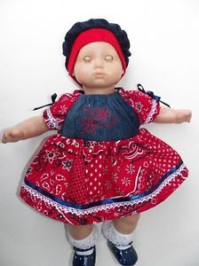 "Red Denim Embroidered Flower Dress Doll Clothes Fits 15"" Bitty Baby Twin"