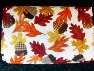 Thanksgiving Fall Primitive Leaves Acron Vinyl Tablecloth Flannel Back All Sizes