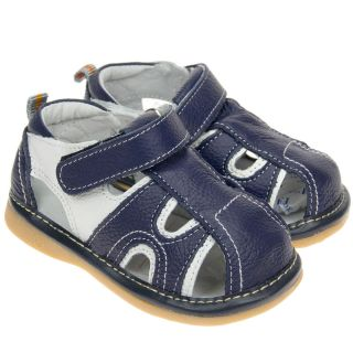 Boys Toddler Childrens Real Leather Squeaky Shoes Sandals Navy Blue White