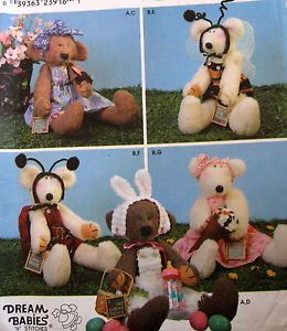 "Dream Babies Stuffed Animal Teddy Bear Pattern 18"" 22"" w Easter Costume Clothes"