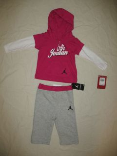 Nike Air Jordan Baby Girls 2pc Shirt and Pant Outfit Set Size 6 9M