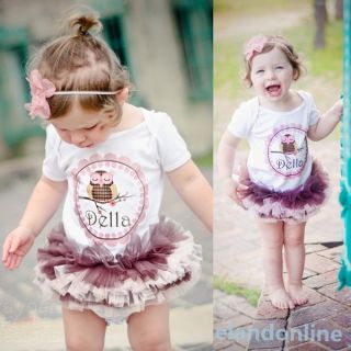 Baby Girls Cotton One Piece Romper T Shirts Tutu Dress Outfits Costume 0 3 Years