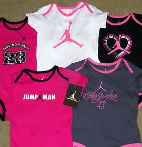 New Lot of 5 Baby Girls Nike Air Jordan Shirts Bodysuits Size 0 3 MO