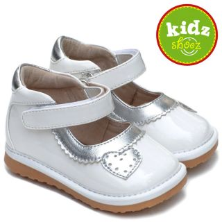 New Girls Toddler Leather Squeaky Shoes White Silver