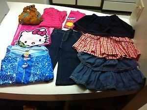 Lot of 9 Girls Clothing Shirts Jeans Nightgowns Skorts Size 5T Small Nice