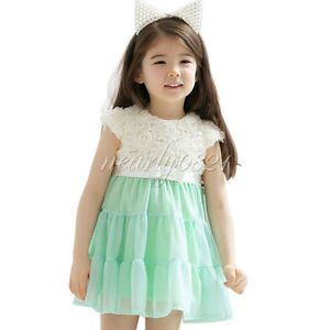 Kids Girls Baby Toddler Rose Top Flower Party Dress Clothes Outfits Green Sz 6