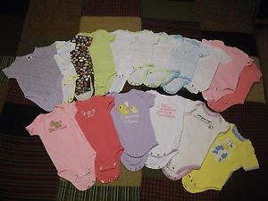 Baby Girls Clothes Lot One Piece Carter's Onesies Bodysuits Newborn 3 6 9 Months