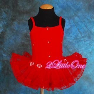Lace Girl Red Ballet Tutu Dance Costume Fancy Dress Leotard Size 2T BA019