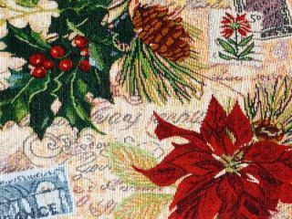 "Christmas 13""x 68"" Tapestry Table Runner Poinsettia Holly Berry Ivory Red New"