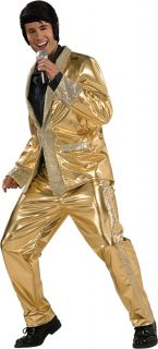Elvis Presley Gold Lame Satin Suit Grand Heritage Deluxe Adult Mens Costume Star