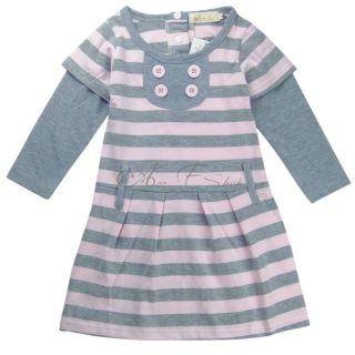 Girl Kids Stripe Leisure Long Sleeve Top Dress Skirt Clothing Costume 2 7Y