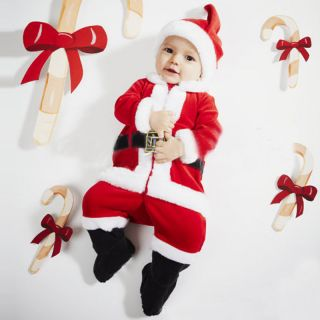 Baby Boy Girl Clothes Infant Christmas Santa Claus Party Costume Outfit Hat