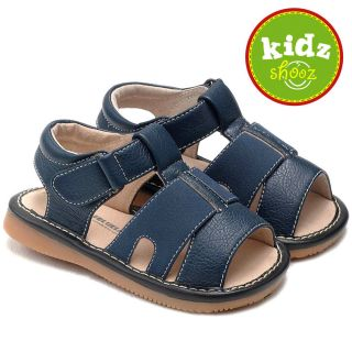 Boys Toddler Nubuck Leather Squeaky Shoes Sandals Blue