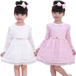 Kids Toddler Girls Princess Wedding Dress Party Flower Pink Lace sz2 7Y Clothing