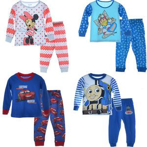 2pcs Baby Boy Girl Shirt Top Pants Sets Pink Blue Pajamas Sleepwear 2 7Y Clothes