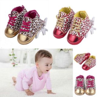 Baby Toddler Infant Leopard Print Crib Shoelace Shoes Boot Soft Sole 3 18 Months
