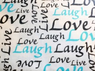 Live Laugh Love Inspiration Vinyl Tablecloth Flannel Back 52x70 Oblong New