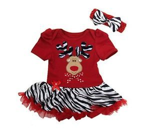 2pcs Kids Girls Christmas Deer Dresses 2 Years Toddler Clothes Red 90