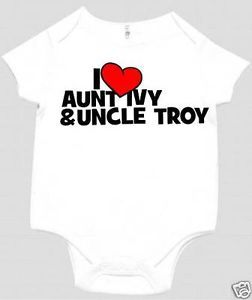 I Love My Aunt Uncle Custom with Names Baby Bodysuit White Pink or Blue SS
