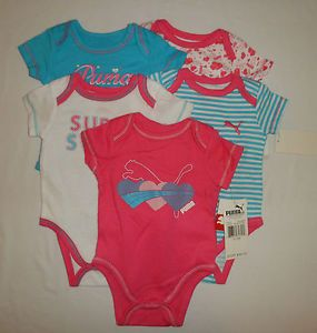 New Puma Logo Baby Girls Bodysuits Shirts Clothes Lot Set Sz 6 9M 9 Months