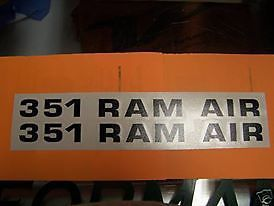 1971 1972 1973 Ford Mustang 351 RAM Air Hood Decal Sticker Set of 2 Choose Color
