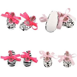 Infant Baby Toddler Girl Dot Zebra Stripe Damask Print Silk Ribbon Shoes