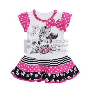 Girl Kids Minnie Mouse Hot Pink White Dress Skirt Size 3 7 Years Costume Clothes