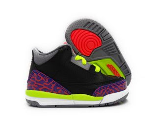 Nike Air Jordan 3 Retro Black Red Grey Violet Toddlers Baby Size 8