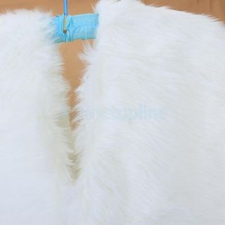 Charming Cocktail Party White Faux Fur Wrap Shrug Bolero Stole Coat Bridal Shawl