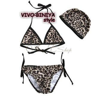 Girls Kids Leopard Bikini Swimsuit Swimwear Bathing Suit Swimming Costume Sz 2 6