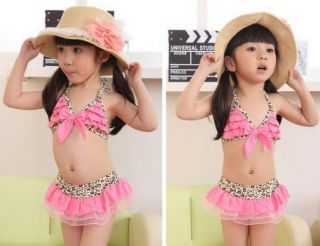 Girls Leopard 2 8Y Swimsuit Swimwear Bathing Costume Tankini Pink Bowknot Bikini