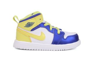 Nike Jordan 1 Mid Flex 554727 118 New Toddler Baby White Yellow Basketball Shoes