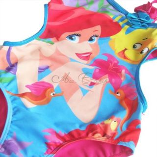 Girls Princess Barbie Mermaid Swimsuit Swimwear Swim Costume Bathing Suit Sz 2 8