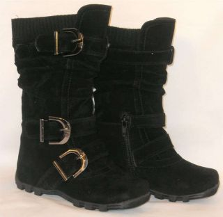 Cute Girls Kids Tall 3 Buckle Suede Flat Boots Warm Knit Top Black Toddler 4