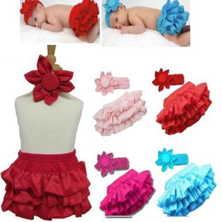 0 24M Sweet Baby Girl Tutu Ruffle Bloomers Pants Skirts Flower Headband Set
