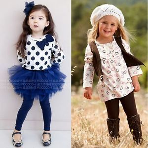 Baby Toddler Girl Kids Clothes 2 Piece Set Dress Top Leggings Skirt 1 5Y Outfit