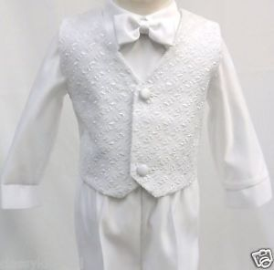 Baby Infant Boy Christening Baptism Outfit Suit Set White Size s 4T 0 36Month